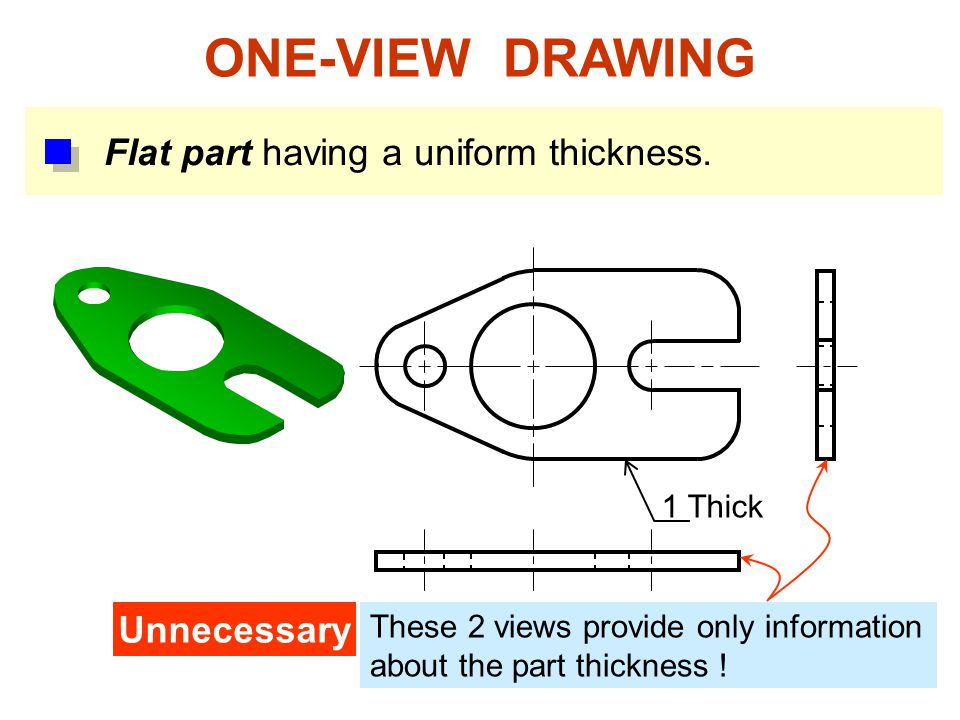 ONE-VIEW DRAWING Flat part having a uniform thickness. Unnecessary