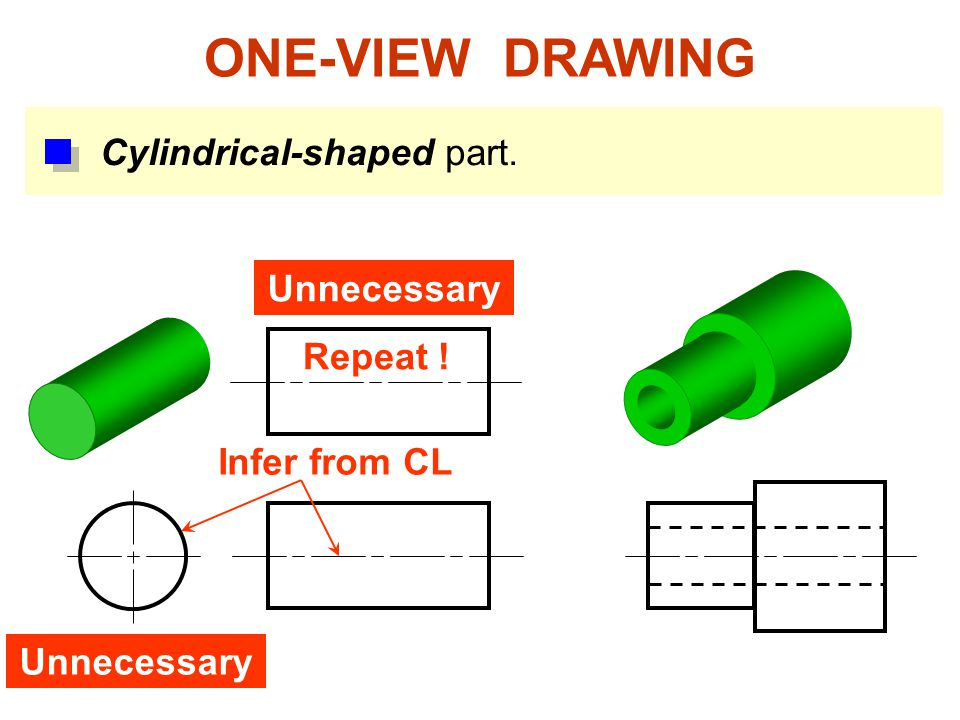 ONE-VIEW DRAWING Cylindrical-shaped part. Unnecessary Repeat !