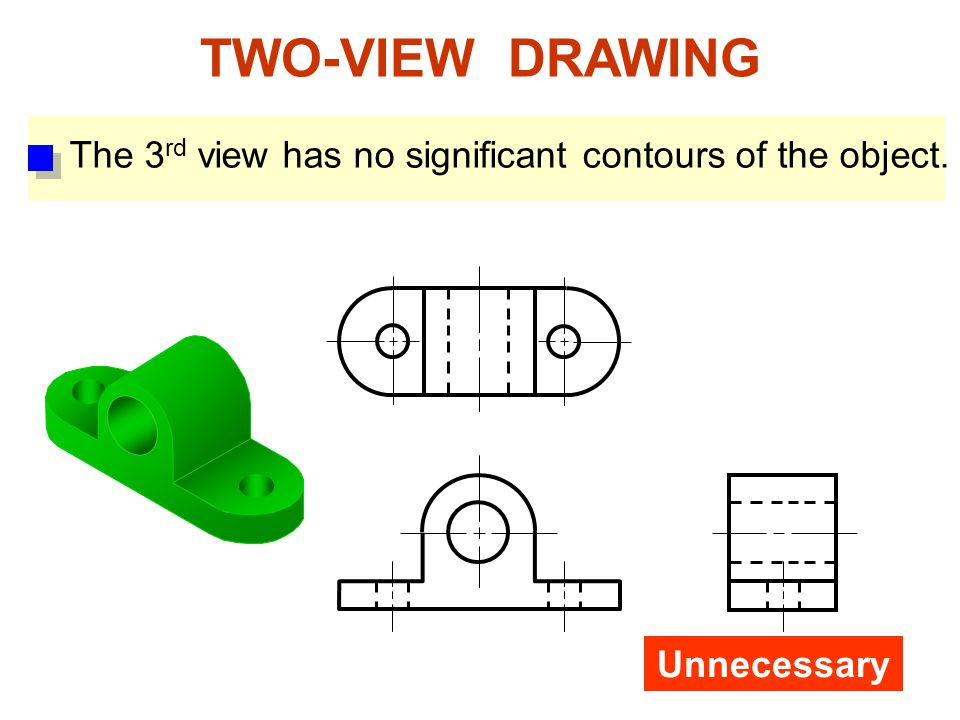 TWO-VIEW DRAWING The 3rd view has no significant contours of the object. Unnecessary