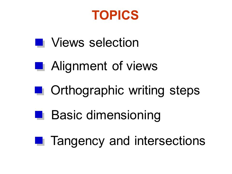 TOPICS Views selection. Alignment of views. Orthographic writing steps.