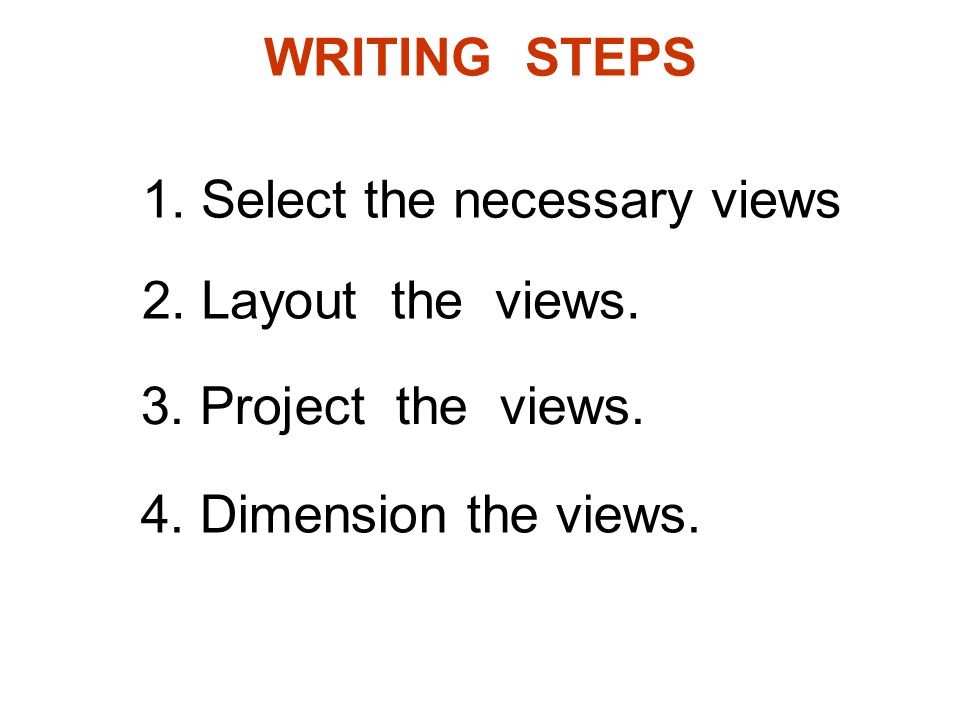WRITING STEPS 1. Select the necessary views. 2.