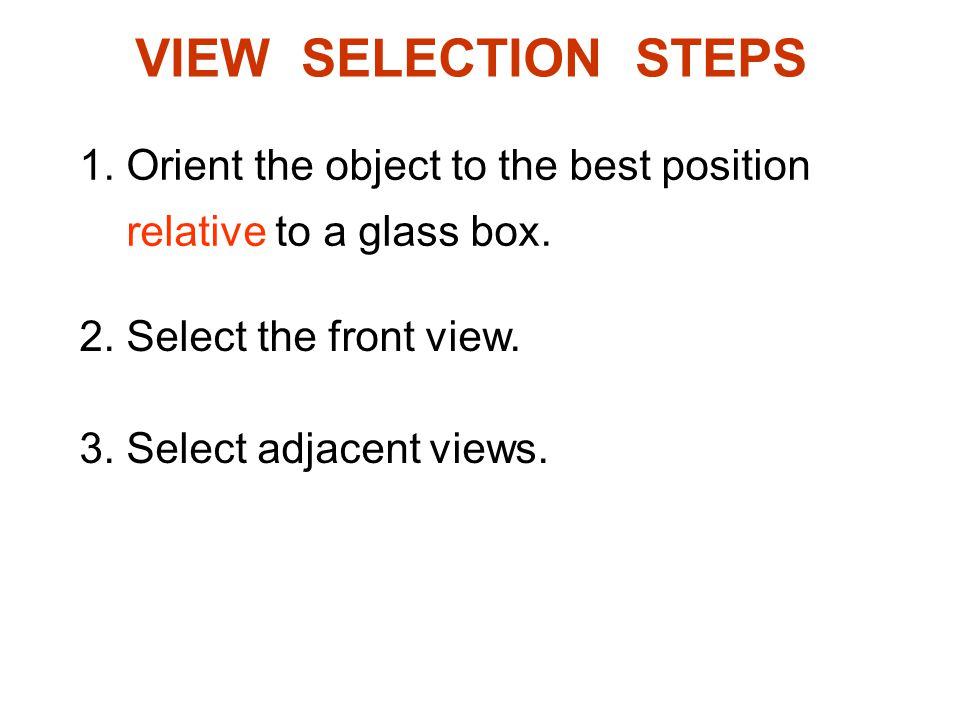 VIEW SELECTION STEPS 1. Orient the object to the best position relative to a glass box. 2. Select the front view.