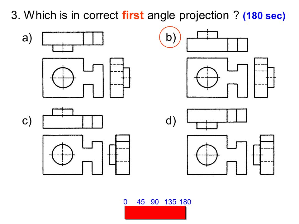 3. Which is in correct first angle projection (180 sec)