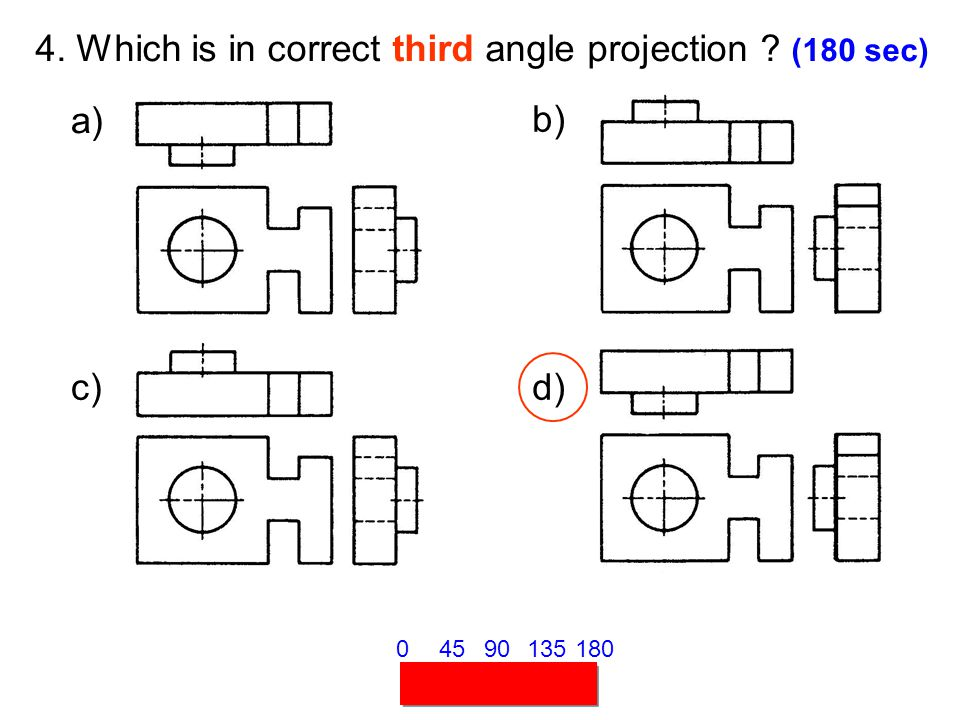 4. Which is in correct third angle projection (180 sec)