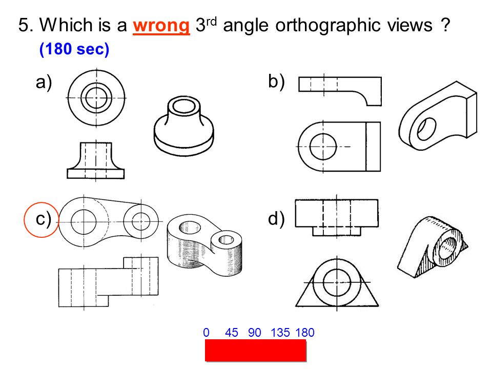 5. Which is a wrong 3rd angle orthographic views (180 sec)