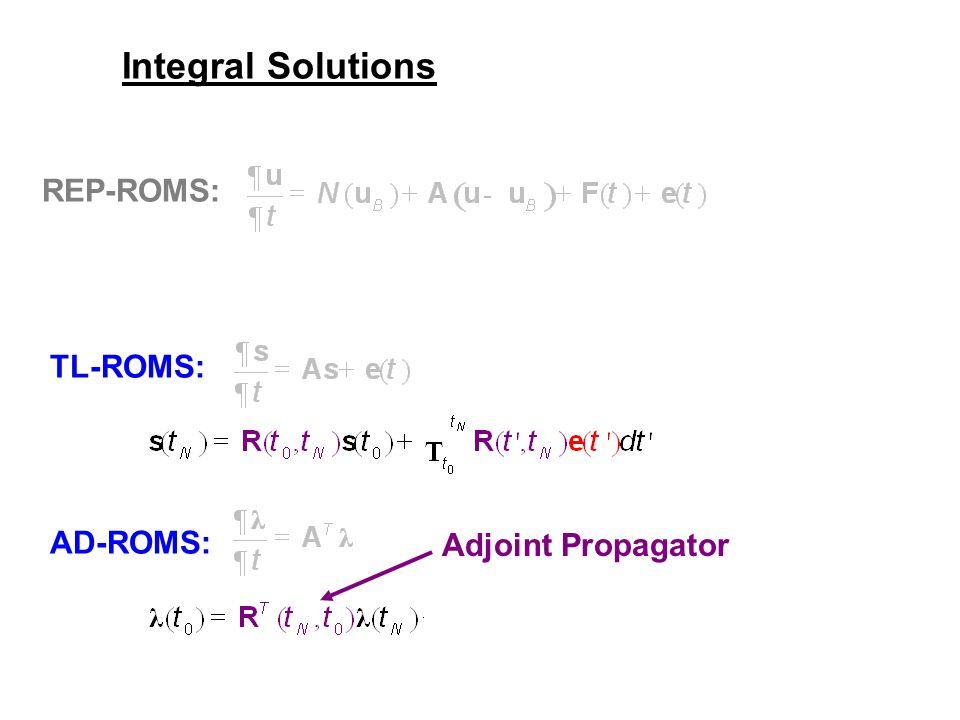 Integral Solutions REP-ROMS: TL-ROMS: AD-ROMS: Adjoint Propagator