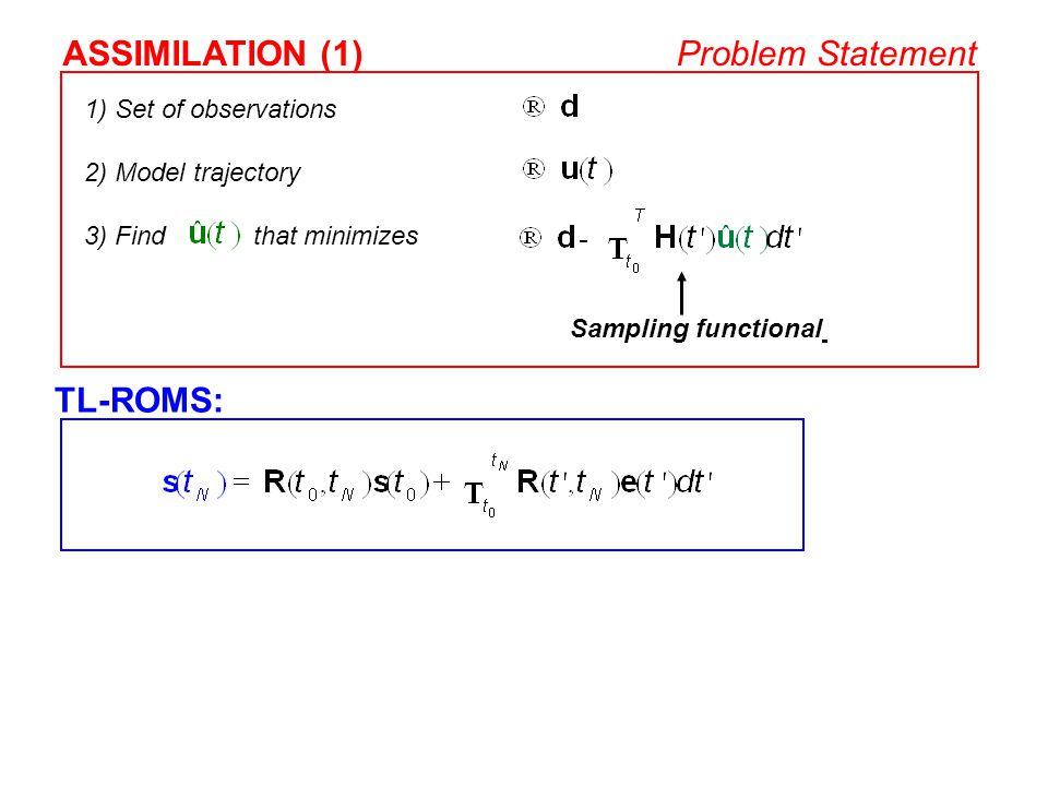 ASSIMILATION (1) Problem Statement TL-ROMS: 1) Set of observations