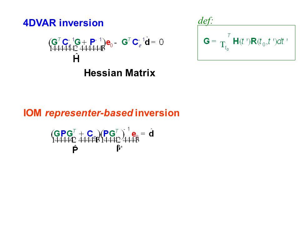 def: 4DVAR inversion Hessian Matrix IOM representer-based inversion