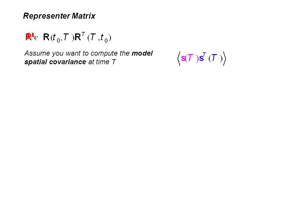 Representer Matrix Assume you want to compute the model spatial covariance at time T
