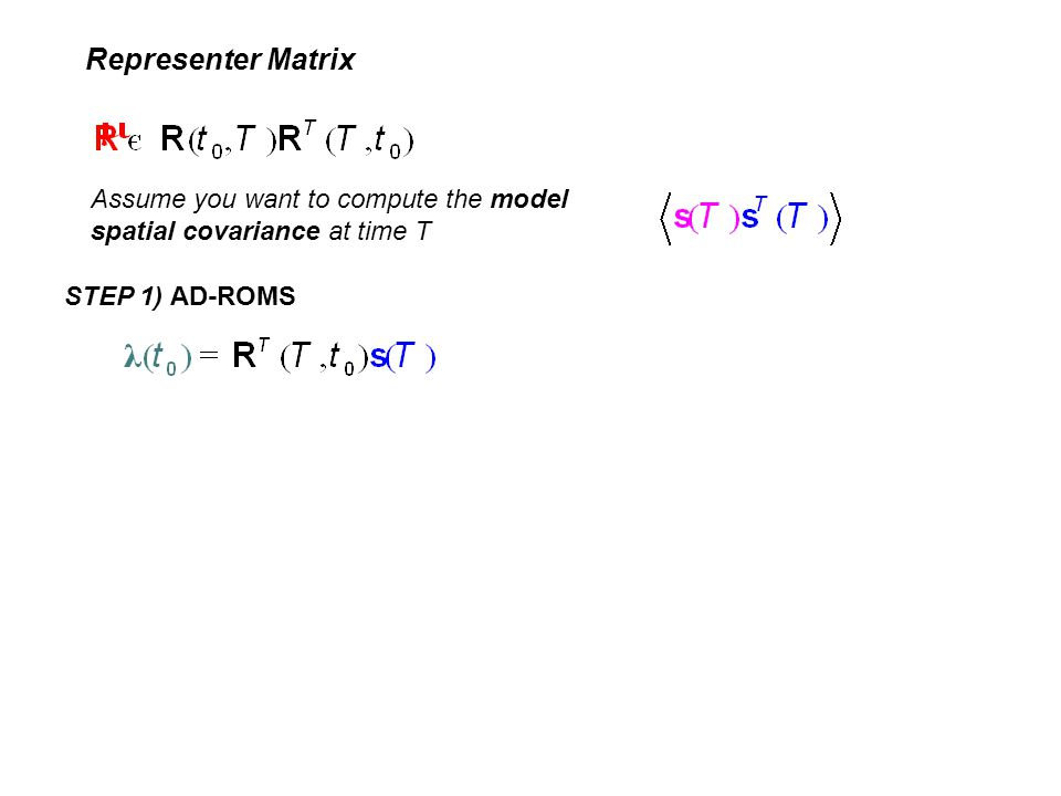 Representer Matrix Assume you want to compute the model spatial covariance at time T.