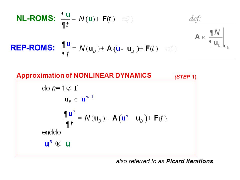 NL-ROMS: def: REP-ROMS: Approximation of NONLINEAR DYNAMICS