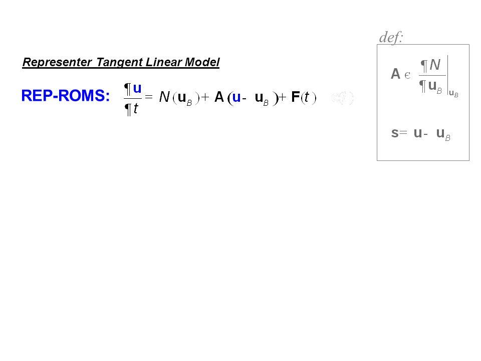 def: Representer Tangent Linear Model REP-ROMS: