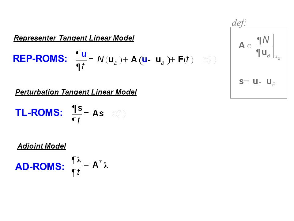 def: REP-ROMS: TL-ROMS: AD-ROMS: Representer Tangent Linear Model