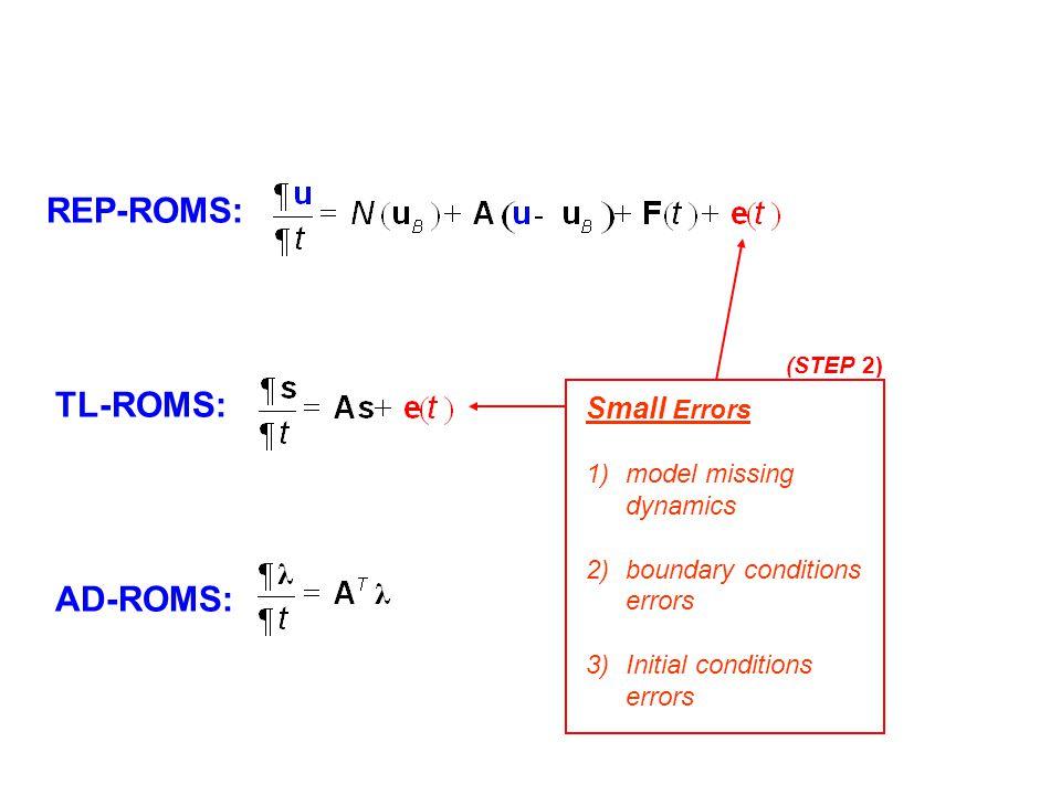 REP-ROMS: TL-ROMS: AD-ROMS: Small Errors model missing dynamics