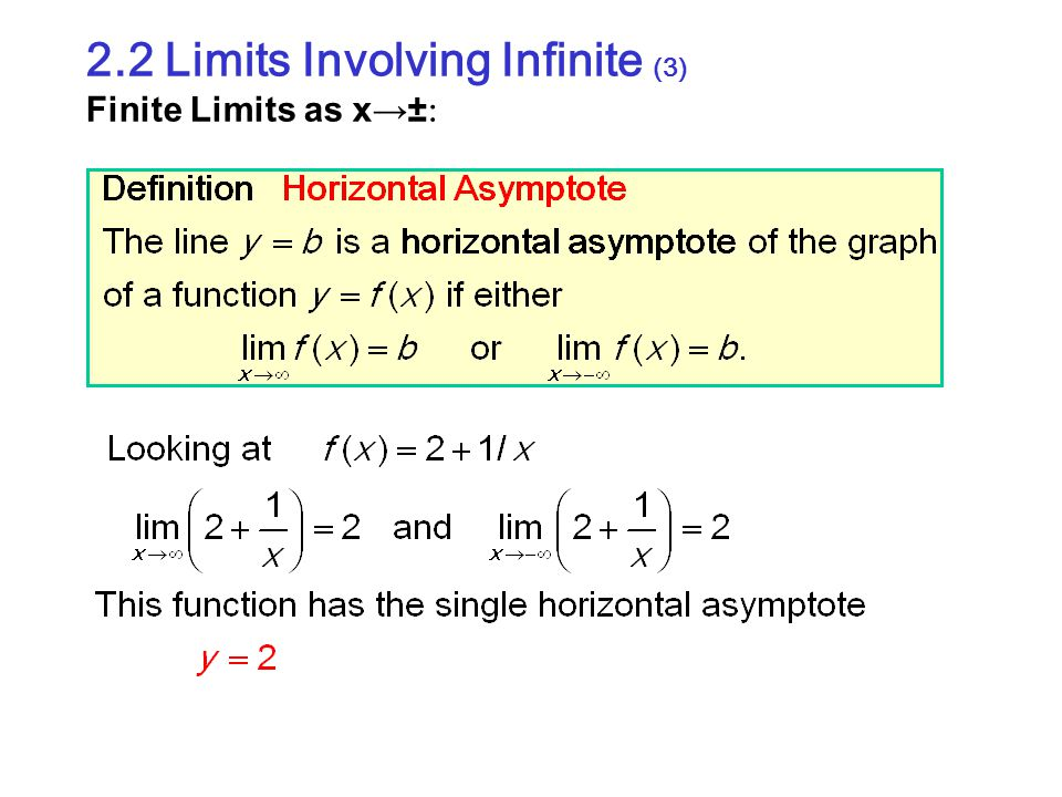 2.2 Limits Involving Infinite (3) Finite Limits as x→±