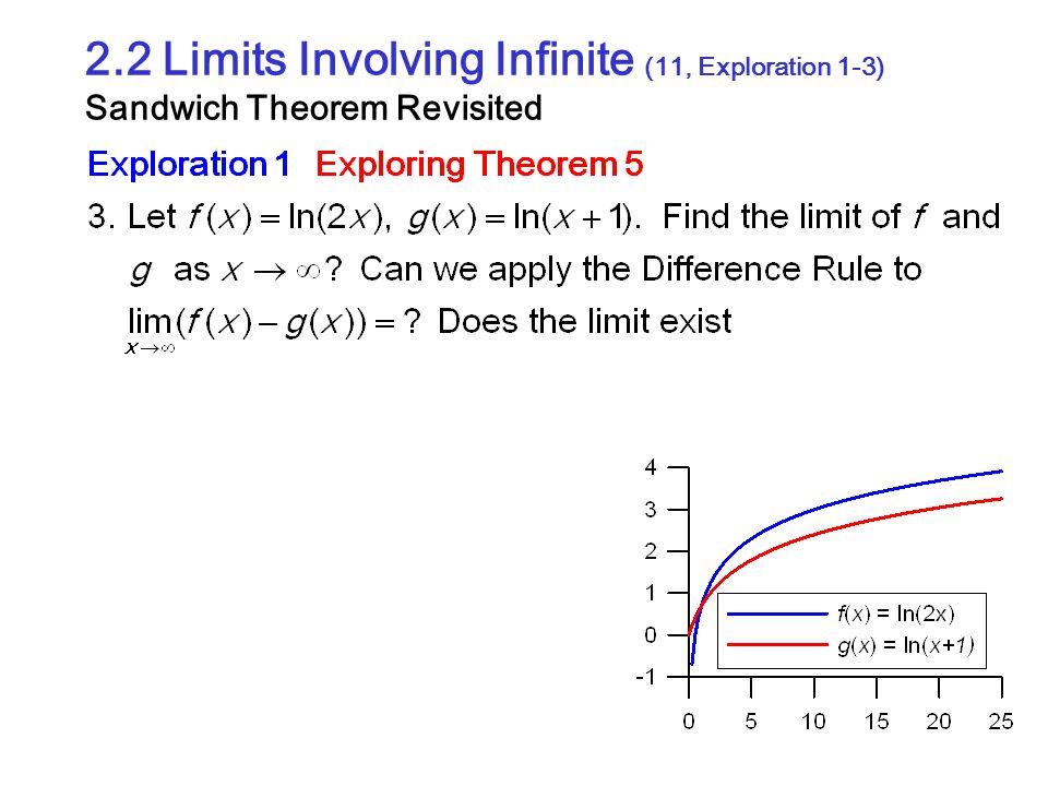 2.2 Limits Involving Infinite (11, Exploration 1-3) Sandwich Theorem Revisited