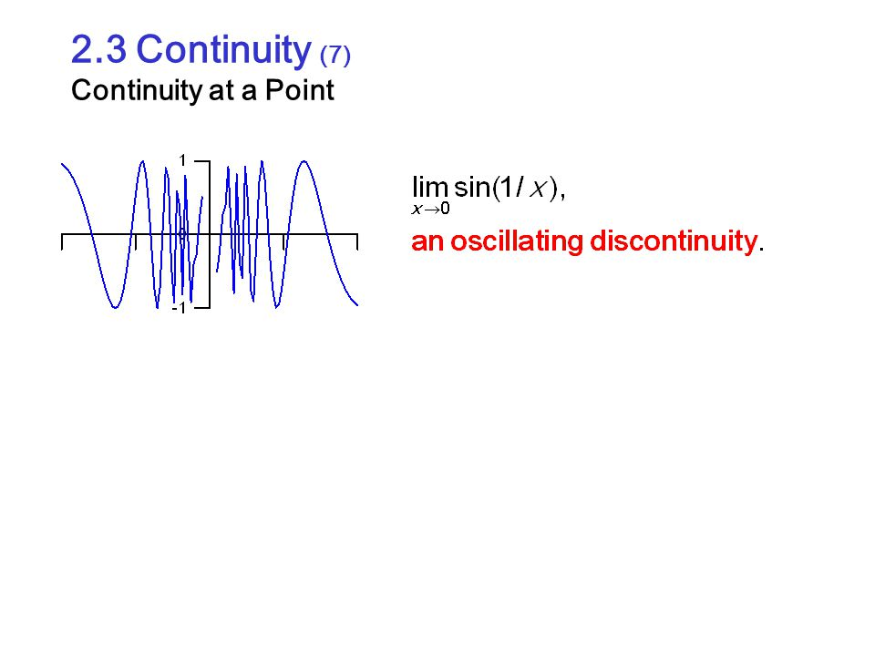 2.3 Continuity (7) Continuity at a Point