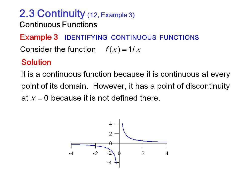 2.3 Continuity (12, Example 3) Continuous Functions