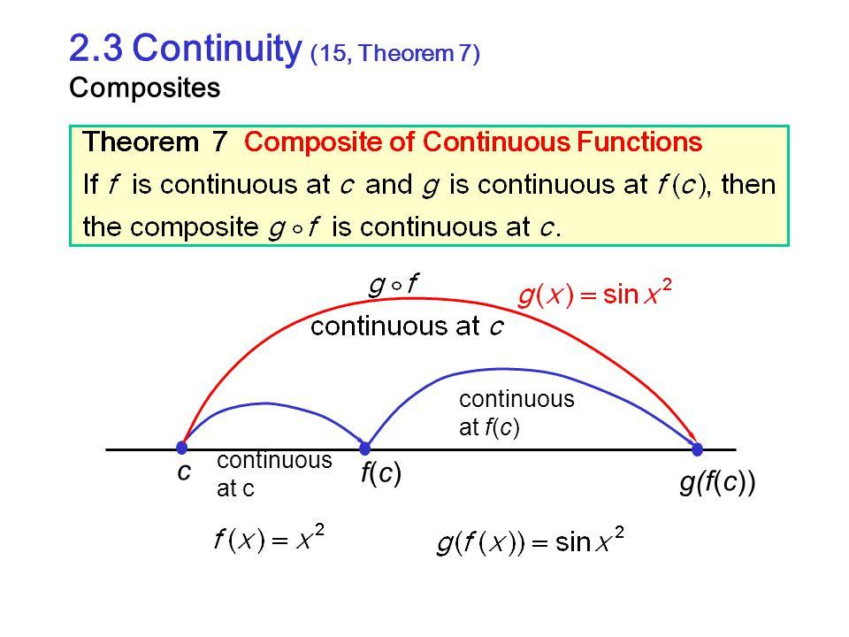 2.3 Continuity (15, Theorem 7) Composites
