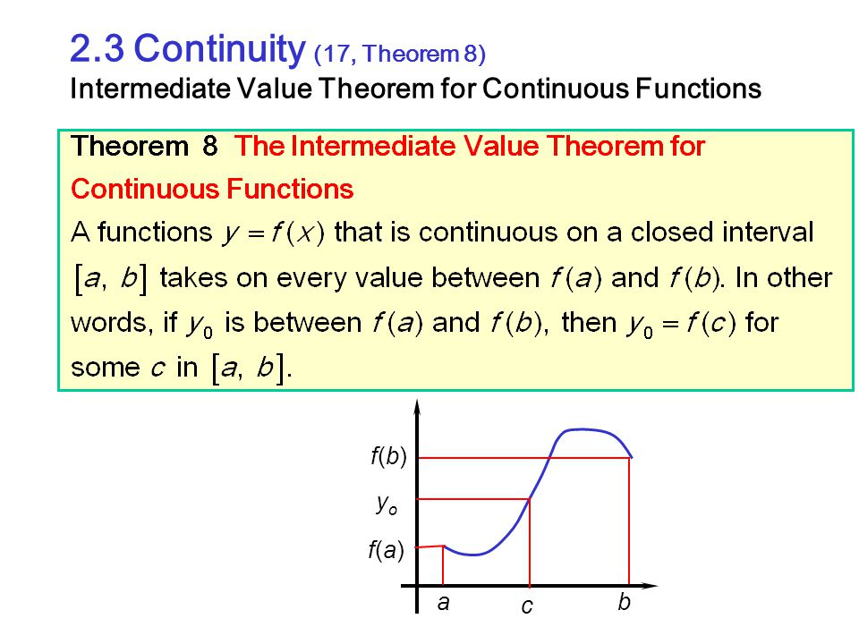 2.3 Continuity (17, Theorem 8) Intermediate Value Theorem for Continuous Functions