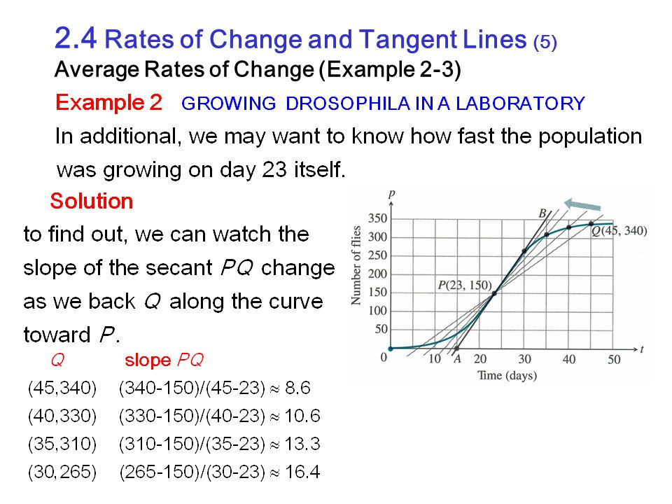 2.4 Rates of Change and Tangent Lines (5) Average Rates of Change (Example 2-3)