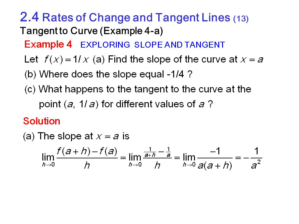 2.4 Rates of Change and Tangent Lines (13) Tangent to Curve (Example 4-a)