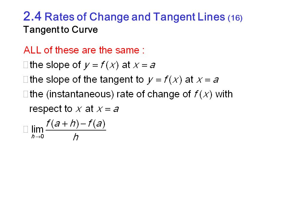 2.4 Rates of Change and Tangent Lines (16) Tangent to Curve