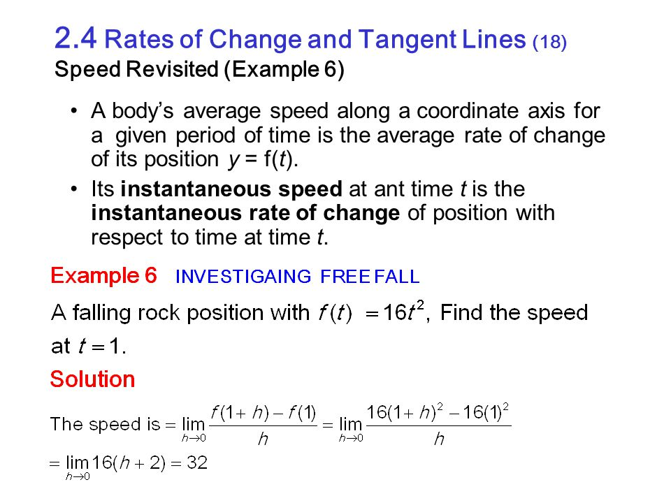 2.4 Rates of Change and Tangent Lines (18) Speed Revisited (Example 6)