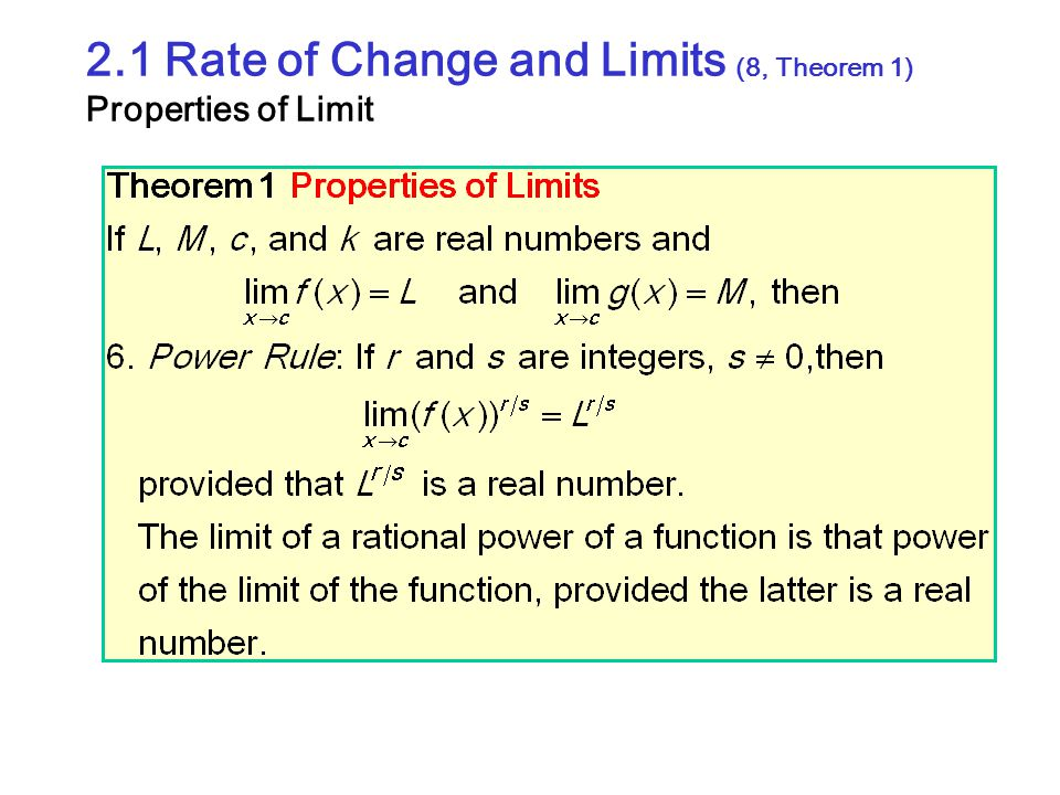 2.1 Rate of Change and Limits (8, Theorem 1) Properties of Limit
