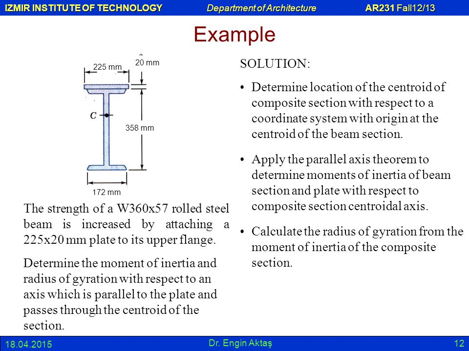 Example 225 mm. 358 mm. 20 mm. 172 mm. SOLUTION: