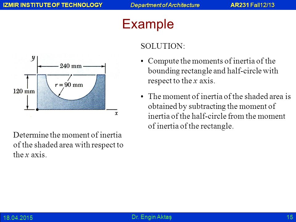 Example SOLUTION: Compute the moments of inertia of the bounding rectangle and half-circle with respect to the x axis.