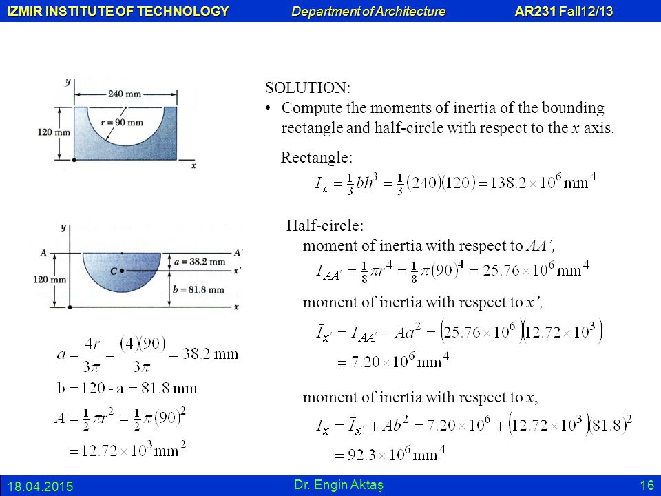 Half-circle: moment of inertia with respect to AA',