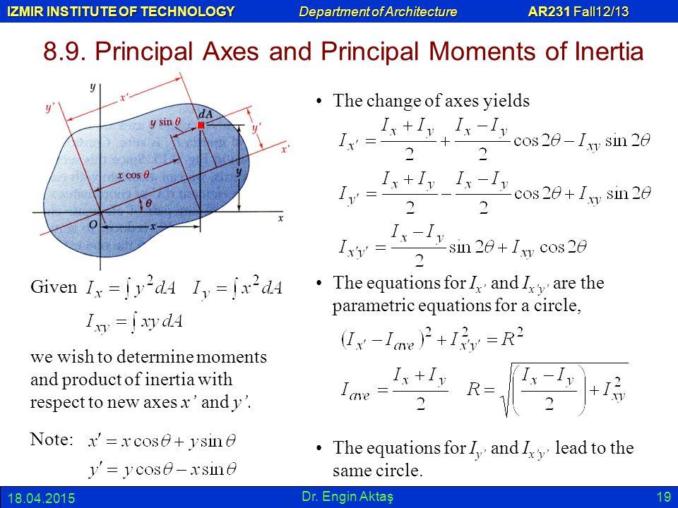 8.9. Principal Axes and Principal Moments of Inertia