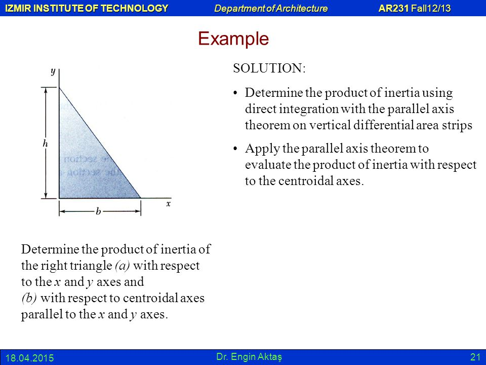 Example SOLUTION: Determine the product of inertia using direct integration with the parallel axis theorem on vertical differential area strips.