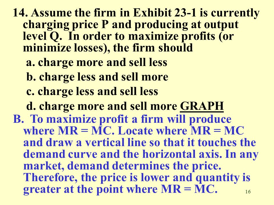 14. Assume the firm in Exhibit 23-1 is currently charging price P and producing at output level Q. In order to maximize profits (or minimize losses), the firm should
