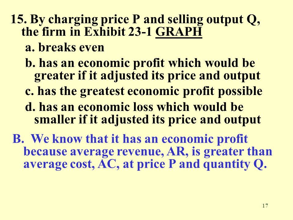 15. By charging price P and selling output Q, the firm in Exhibit 23-1 GRAPH