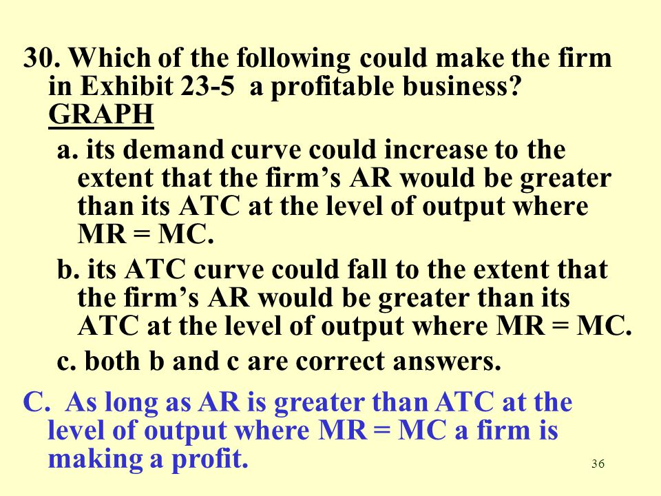 30. Which of the following could make the firm in Exhibit 23-5 a profitable business GRAPH