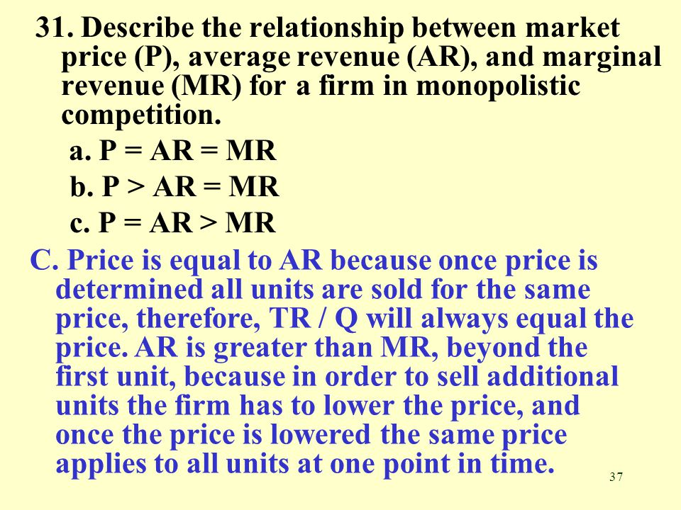 31. Describe the relationship between market price (P), average revenue (AR), and marginal revenue (MR) for a firm in monopolistic competition.