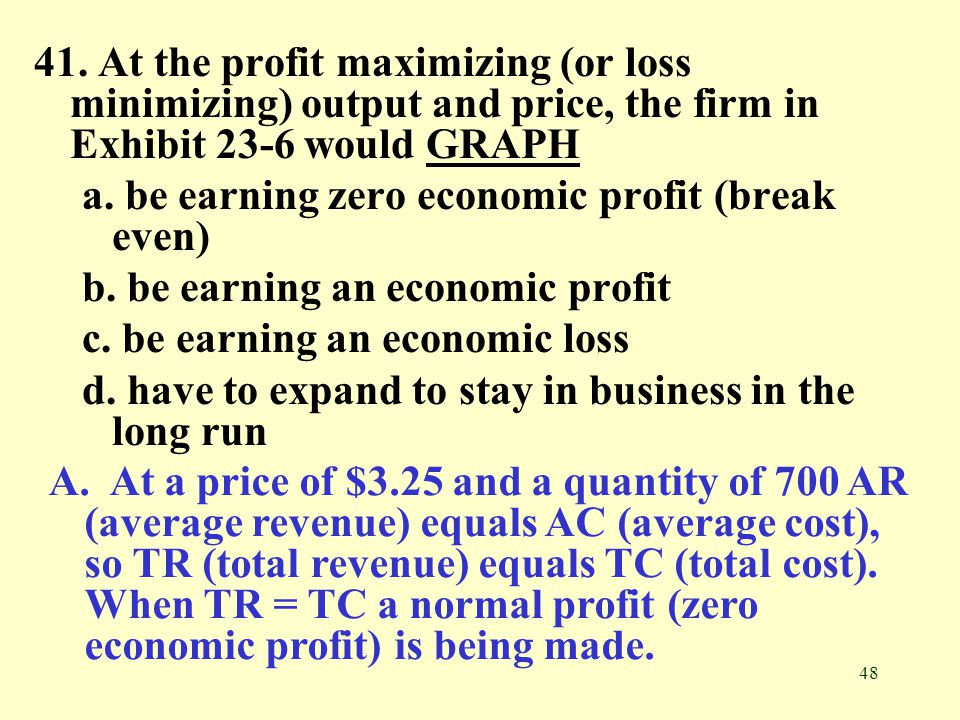 41. At the profit maximizing (or loss minimizing) output and price, the firm in Exhibit 23-6 would GRAPH