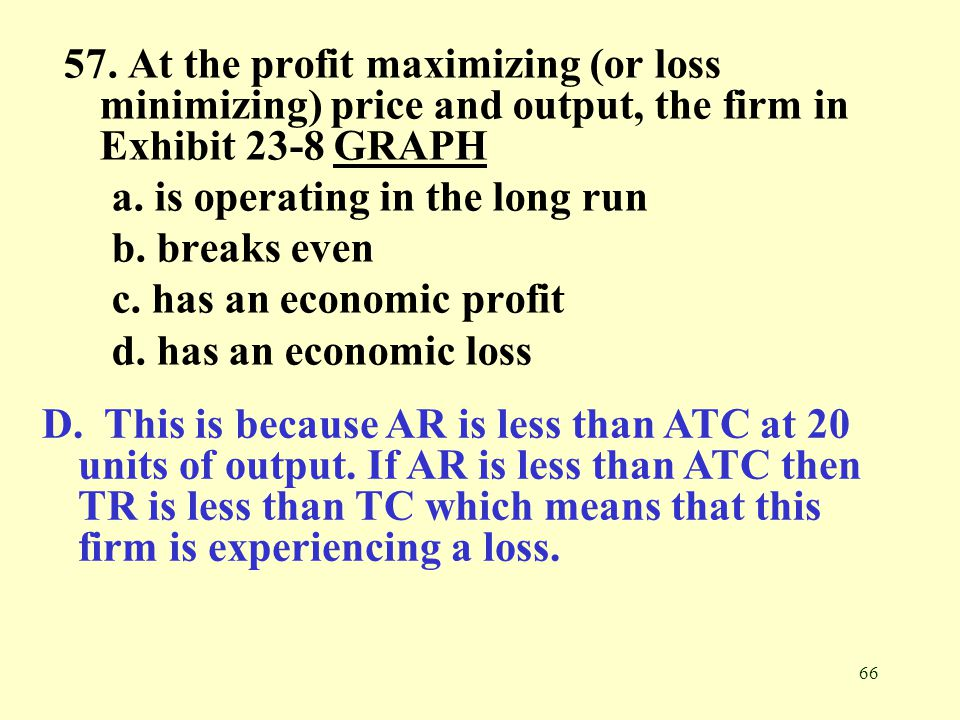 57. At the profit maximizing (or loss minimizing) price and output, the firm in Exhibit 23-8 GRAPH