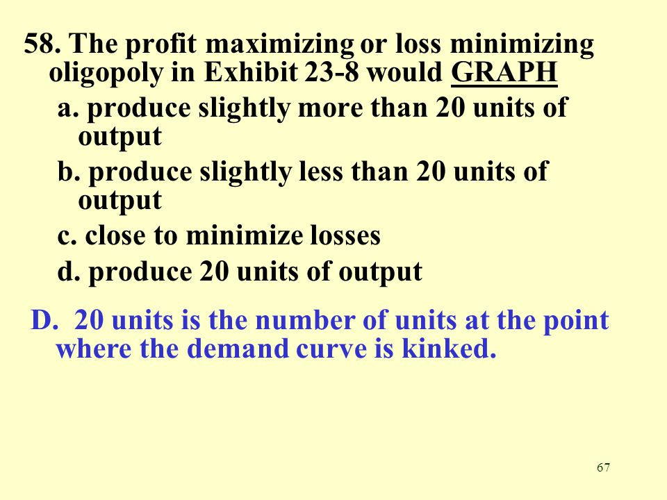 58. The profit maximizing or loss minimizing oligopoly in Exhibit 23-8 would GRAPH