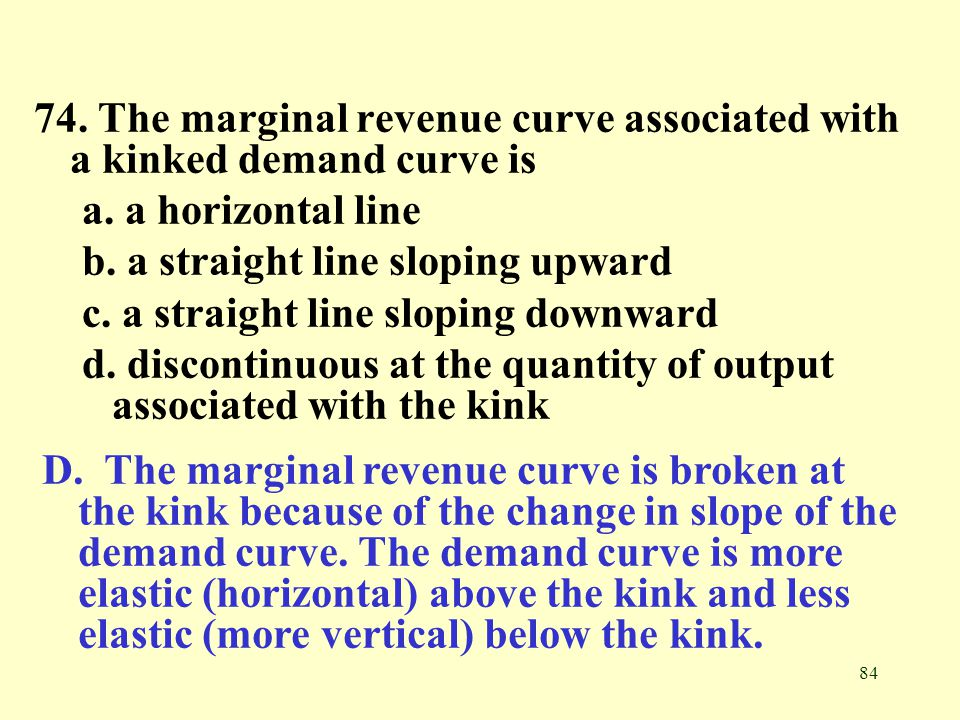 74. The marginal revenue curve associated with a kinked demand curve is