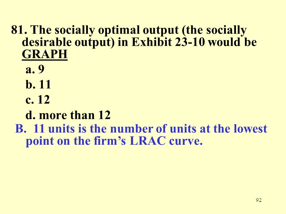 81. The socially optimal output (the socially desirable output) in Exhibit 23-10 would be GRAPH