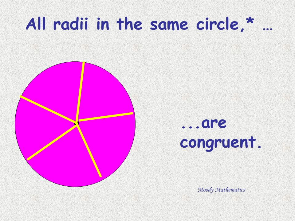 All radii in the same circle,* …