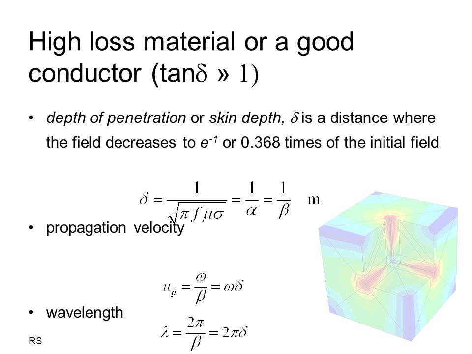 High loss material or a good conductor (tan » 1)