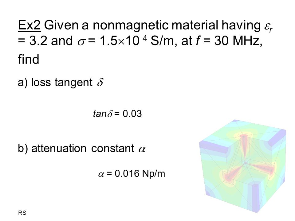 Ex2 Given a nonmagnetic material having r = 3. 2 and  = 1