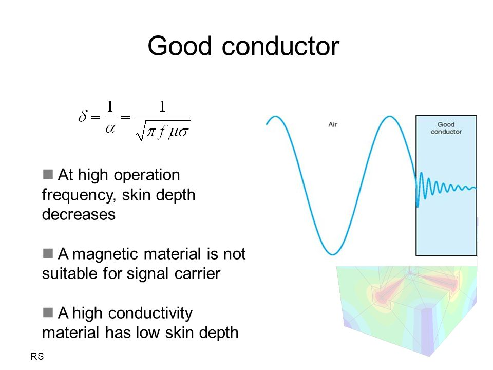 Good conductor At high operation frequency, skin depth decreases