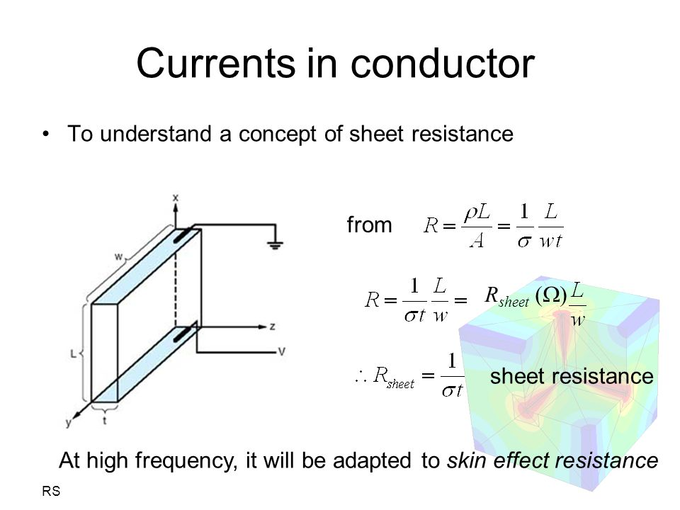 Currents in conductor To understand a concept of sheet resistance from