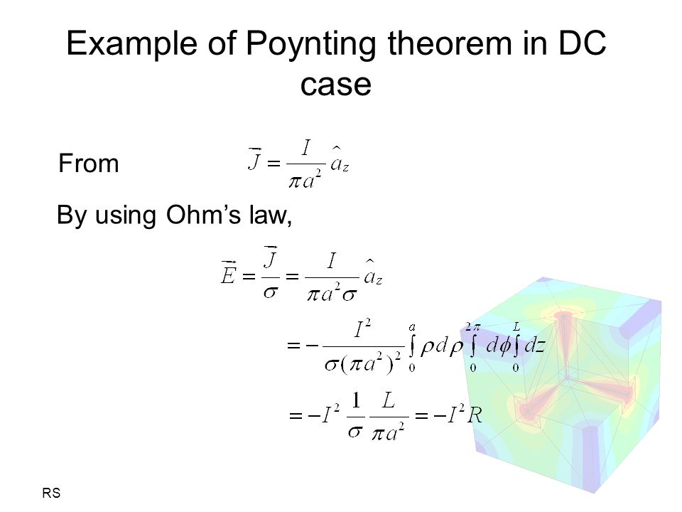 Example of Poynting theorem in DC case