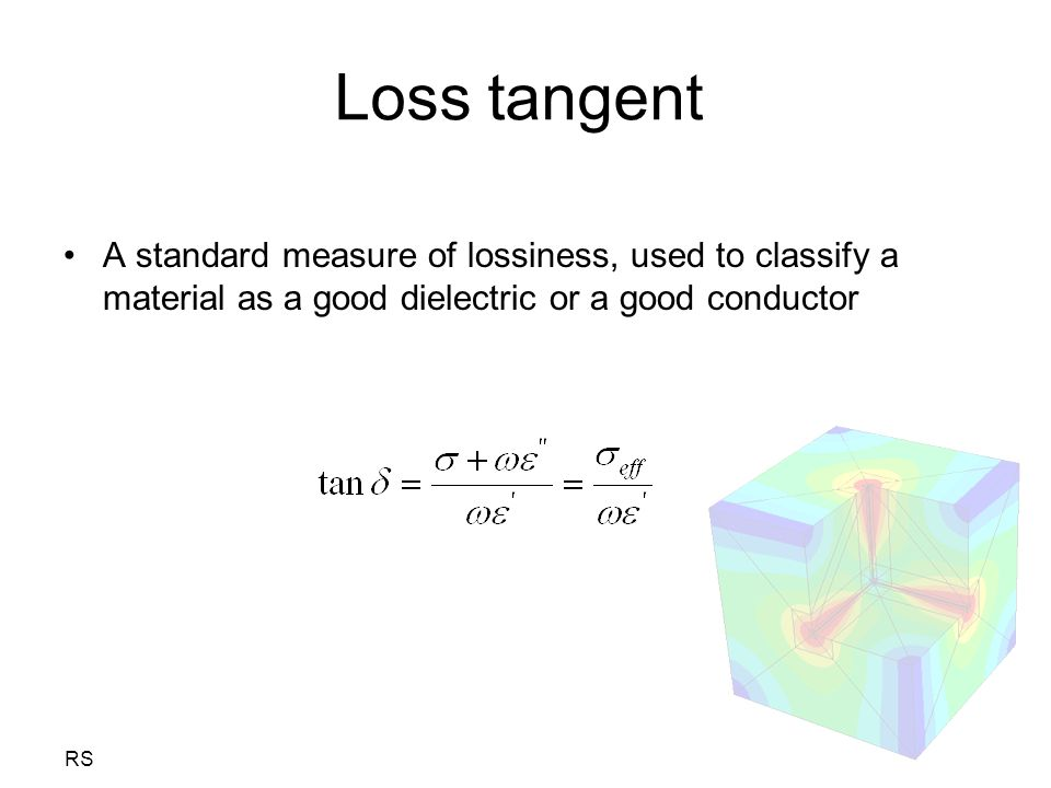 Loss tangent A standard measure of lossiness, used to classify a material as a good dielectric or a good conductor.